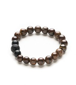 Australian Boulder Opal bead & black Onyx bracelet