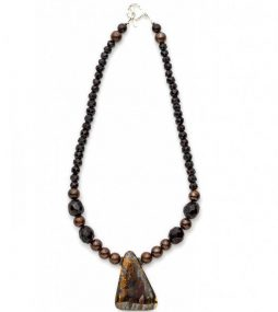 Boulder opal necklace with Garnet