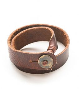 Bison brown leather bracelet, double wrap