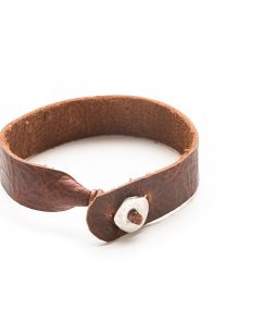 Bison brown leather bracelet, single wrap