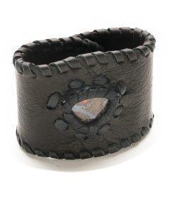 Black Leather & Australian Boulder Opal bracelet
