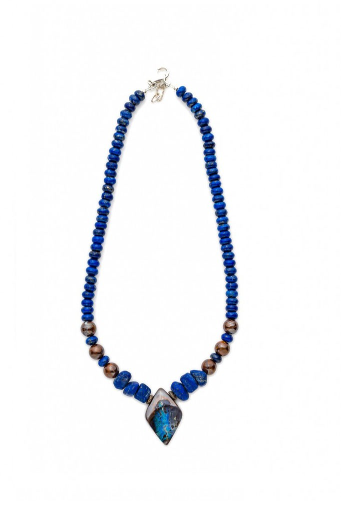 Boulder Opal necklace with Blue Lapis Lazuli