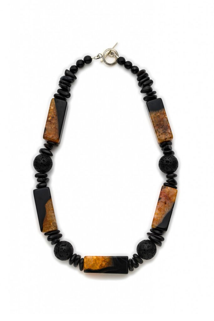 Rare found natural Lava stone necklace