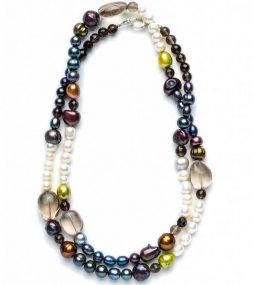 Mixed colors, long-cultured Pearl necklace
