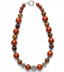 Agate gem stone at its best, deep-orange round Agate 17mm, with artisan made textured Sterling silver 13mm.