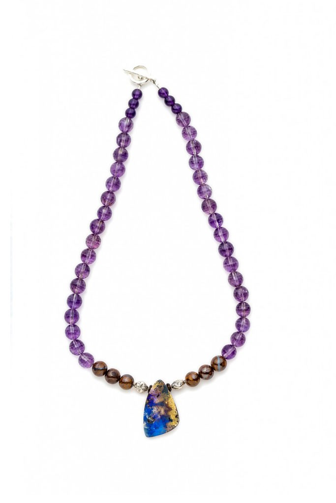 Boulder Opal necklace with Amethyst, Ironstone