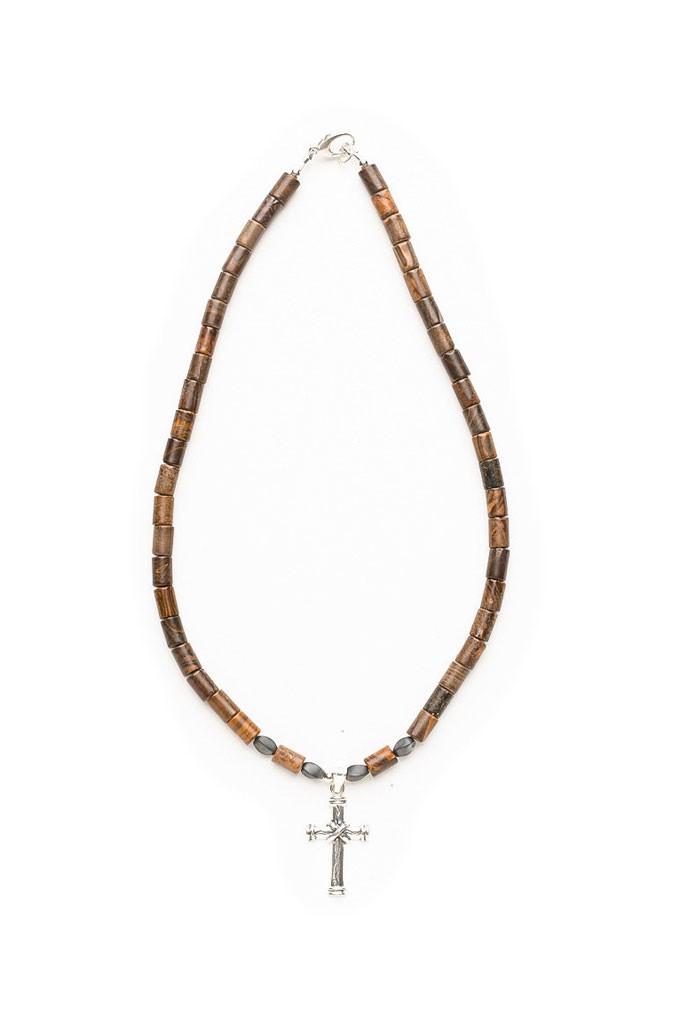 Cross necklace, Unique cross necklace, Custom Cross necklace, Ironstone, Hematite necklace