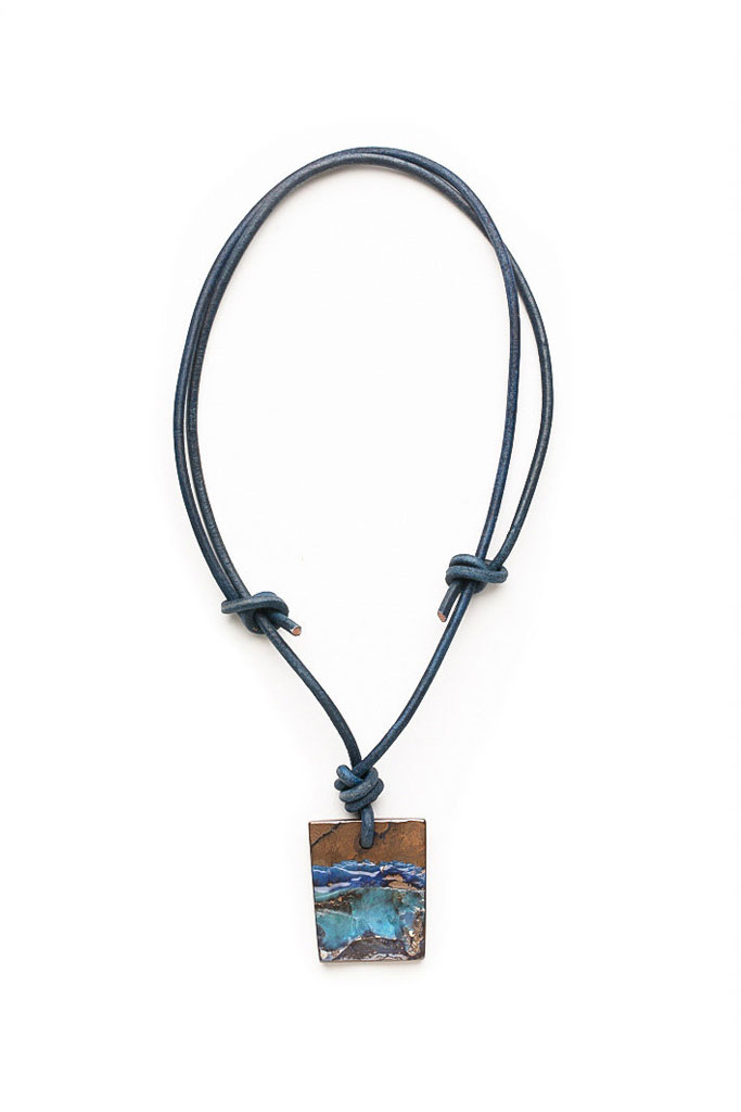 Australian Boulder Opal Waves Pendant on Leather