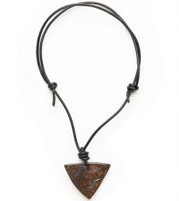 Triangular Boulder Opal Pendant on Leather 1