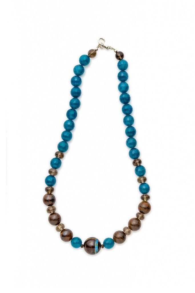 Angelite, Boulder Opal & Ironstone necklace