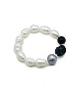 Pearl, black Onyx & Tourmaline bracelet