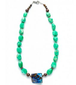 Boulder Opal necklace with Chrysoprase