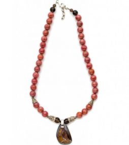 Boulder Opal necklace with Rhodochrosite