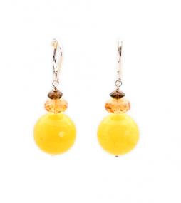 Yellow Jade & Honey Citrine Earrings