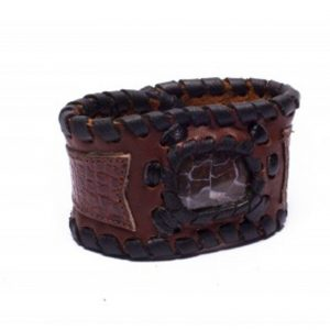 Two-Toned Brown Leather Cuff Bracelet with Opal