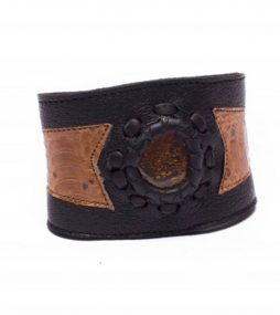 Black & Patchwork Leather Cuff Bracelet with Opal