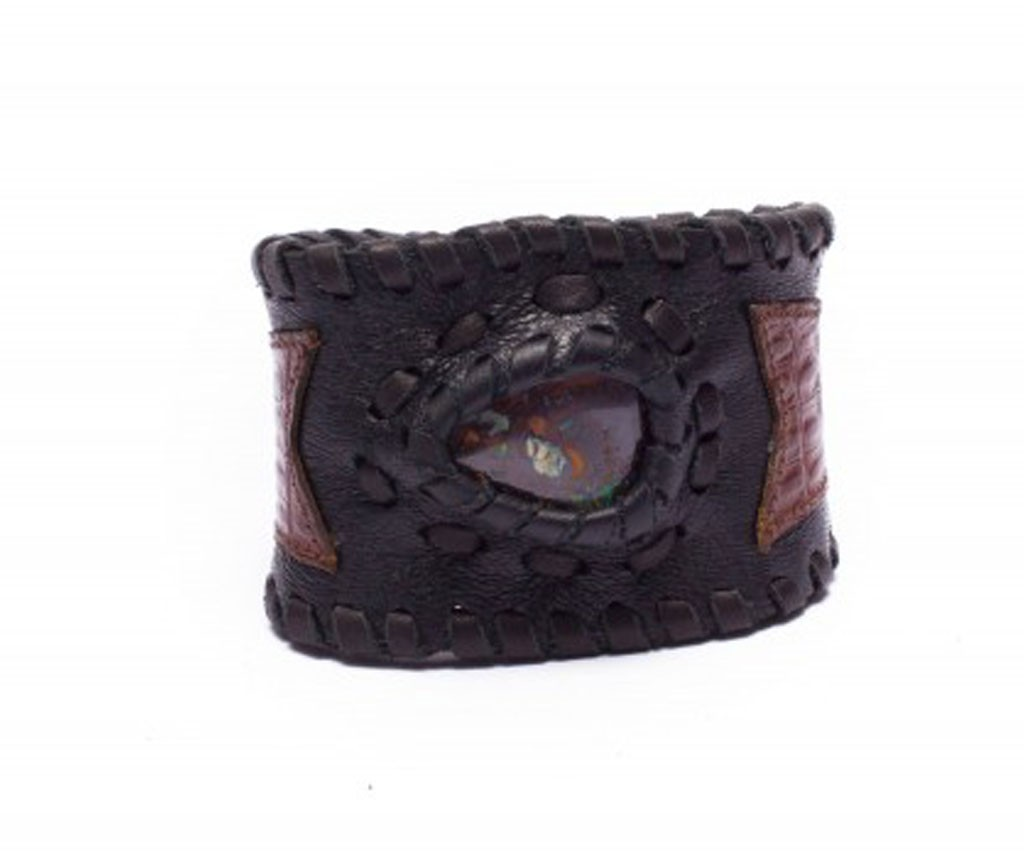 Black Leather Cuff Bracelet with Opal