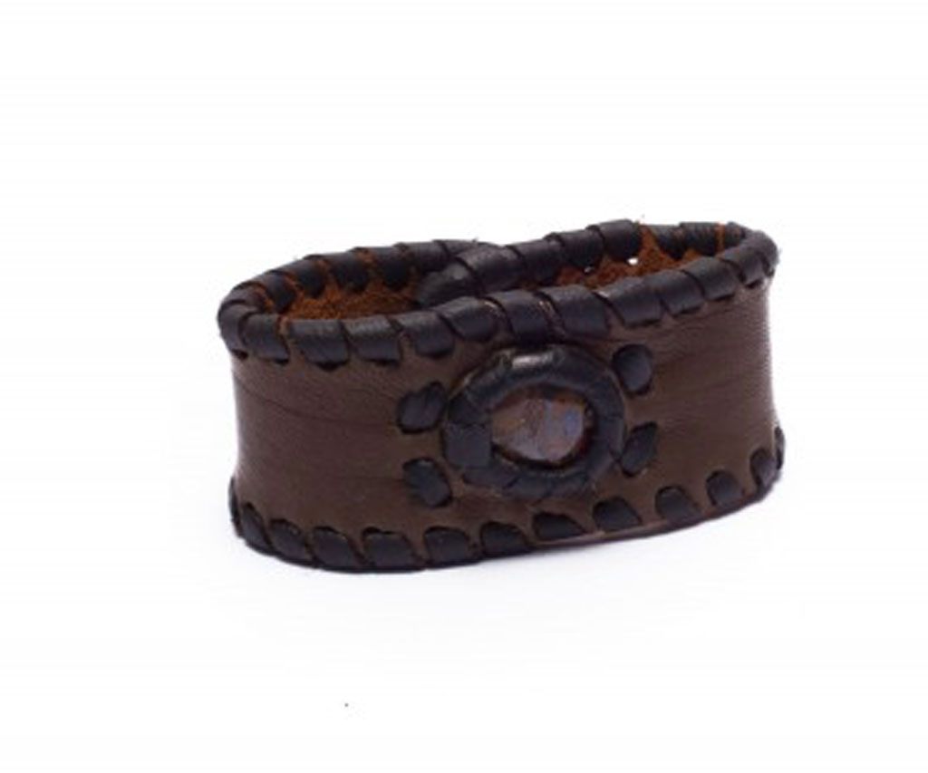 Deep Brown Leather Cuff Bracelet with Opal