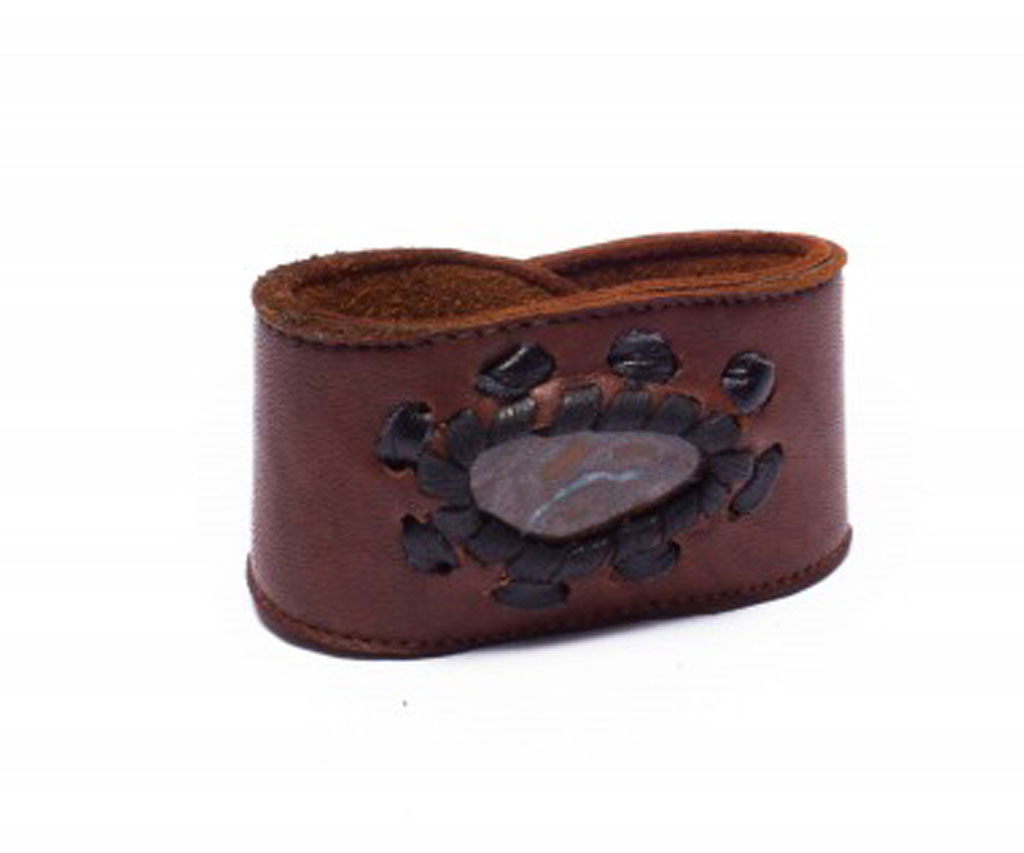 Masculine Brown Leather Cuff Bracelet with Opal