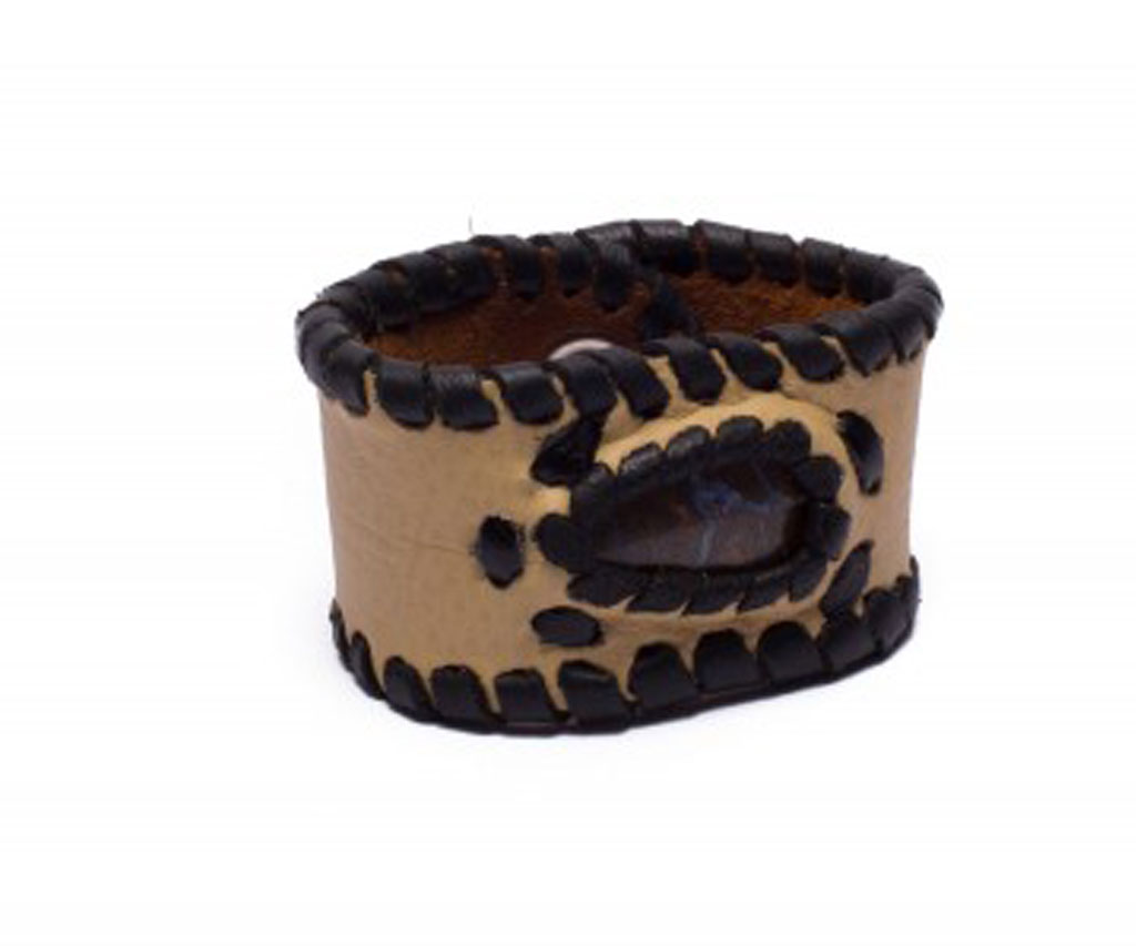 Light Sandy Brown Leather Cuff Bracelet with Opal