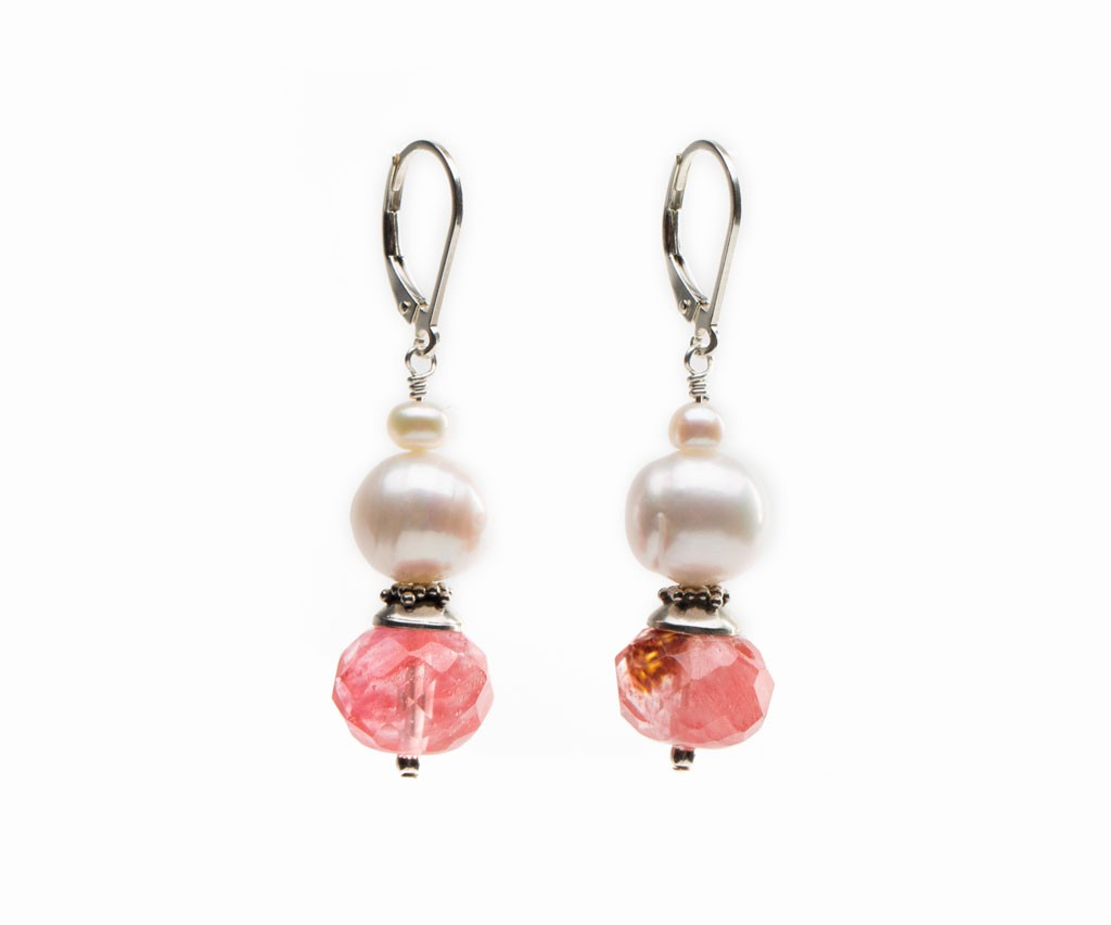 Cherry Quartz Earrings, Unique Earrings