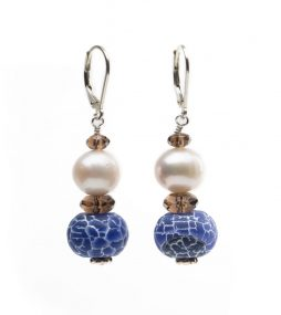 Custom Earrings, Blue Agate, Freshwater Pearls, Earrings