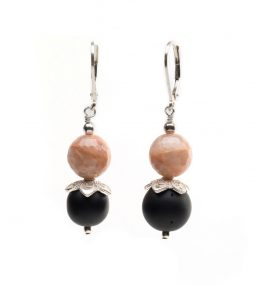 Black Onyx Earrings, River Stone Earrings,