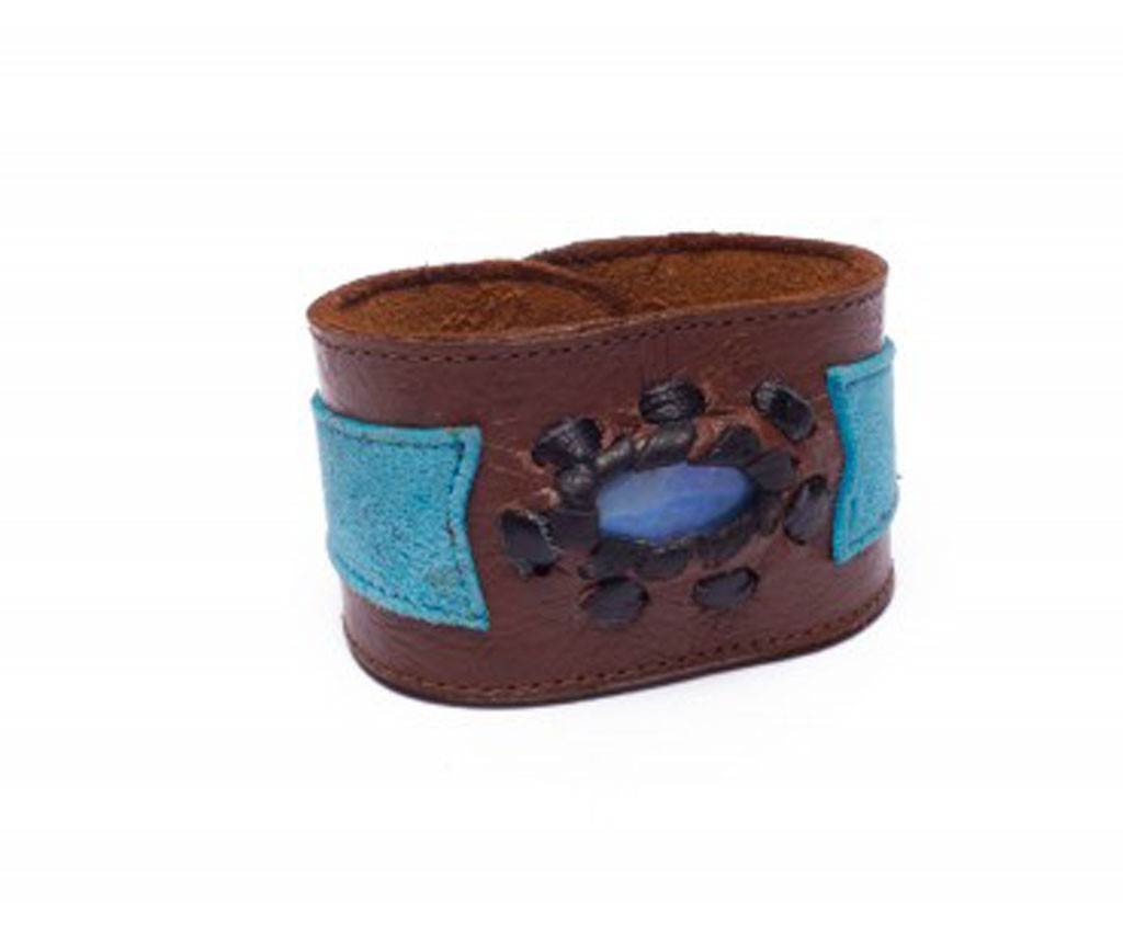 Brown/Blue Leather Cuff Bracelet with Opal