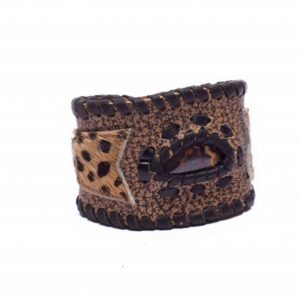 Cheetah Print Leather Cuff Bracelet with Opal