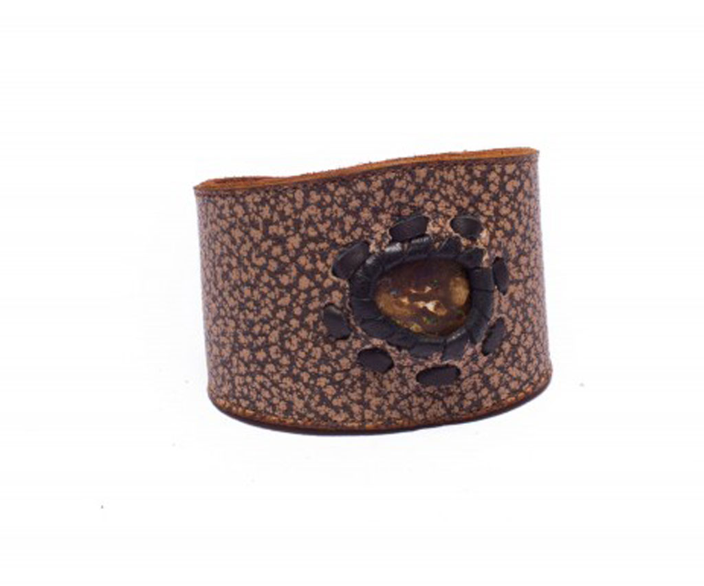 Spotty Brown Leather Cuff Bracelet with Opal