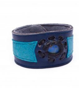Two Shades of Blue Leather Cuff Bracelet with Opal