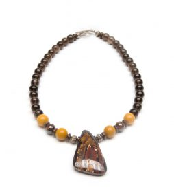 Australian Boulder Opal pendant with incredible patterns & Fall colors in deep red, chocolate brown & mustard yellow