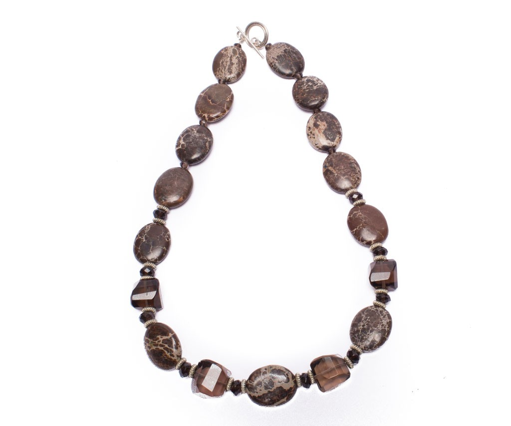 Deep chocolate brown Agate mingled with Smokey Quartz