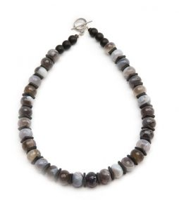 Special rutilated Quartz consists of white, gray, & brown colors, square-shaped black Onyx completes the look